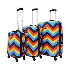 Chariot 3-piece Hardside Luggage Set - Chevron Multi-Color