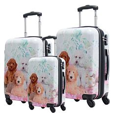 Chariot 3-piece Hardside Luggage Set - Garden Poodle