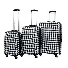 Chariot White/Black Bird 3-piece Luggage Set