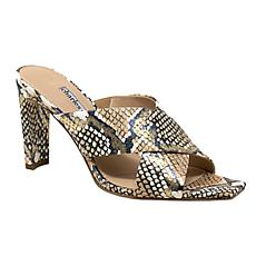 Charles David Buzzer Leather Block-Heel Slide Sandal