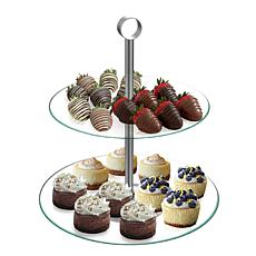 Chef Buddy™ Two-Tier Round Glass Buffet and Dessert Stand