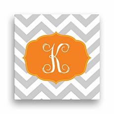 "Chevron Initial Personalized Canvas - 12"" x 12"""
