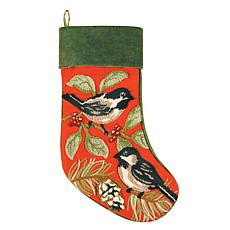 Chickadee Stocking Red