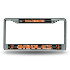 Chrome License Plate Frame w/Bling - Baltimore Orioles