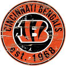 Cincinnati Bengals Round Distressed Sign