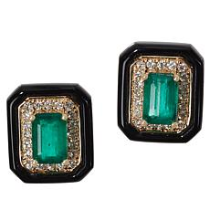 Cirari 14K Gold Emerald, Onyx and Diamond Earrings