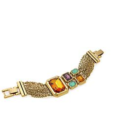 "CLB NYC ""Formation"" Multi Crystal Goldtone Multi-Row 6-3/4"" Bracelet"