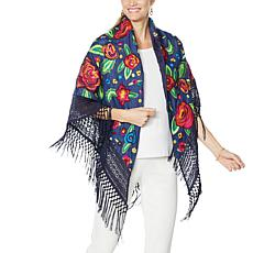 Clever Carriage Cabbage Rose Embroidered Denim Wrap
