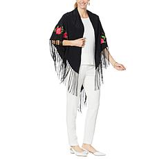 Clever Carriage Embroidered Rose Silk Fringe Piano Scarf