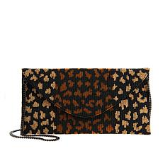 Clever Carriage Handcrafted Leopard Beaded Clutch/Shoulder Bag
