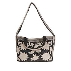 Clever Carriage Martha's Vineyard Embroidered Leather Satchel
