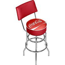 "Coca-Cola Logo-Design Pub Stool with Back Rest - 30"""