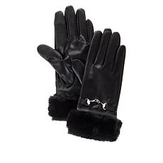 Collection 18 Faux Leather Fur Cuff Glove with Tech Touch