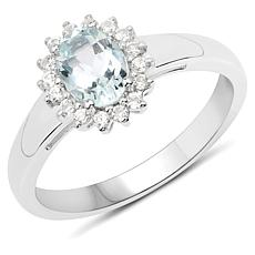 Colleen Lopez 0.89ctw Oval Aquamarine and White Zircon Ring