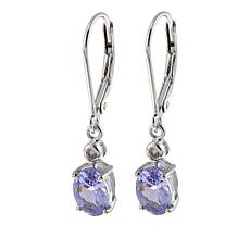Colleen Lopez 1.28ctw Oval Tanzanite and White Zircon Drop Earrings