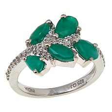 Colleen Lopez 1.51ctw Sakota Emerald and White Zircon Ring
