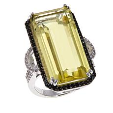 Colleen Lopez 17.76ctw Lemon Quartz, Black Spinel & White Zircon Ring