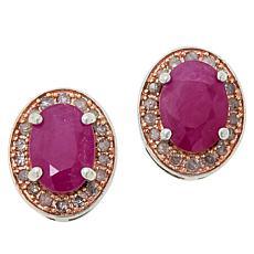 Colleen Lopez 1.90ctw Ruby and Pink Diamond Stud Earrings