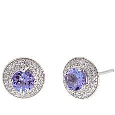 Colleen Lopez 1ctw Round Tanzanite and White Zircon Stud Earrings