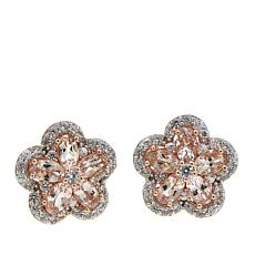 Colleen Lopez 3.51ctw Morganite and White Zircon Flower Stud Earrings