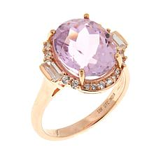 Colleen Lopez 6.45ctw Kunzite and Zircon 10K Gold Ring