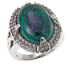 Colleen Lopez Azurite and White Topaz Sterling Silver Ring