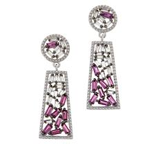 Colleen Lopez Baguette-Cut Rhodolite and White Topaz Drop Earrings