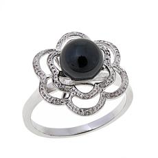 Colleen Lopez Black Onyx Diamond-Accented Flower Ring