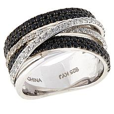 Colleen Lopez Black Spinel and White Topaz Multi-Row Ring