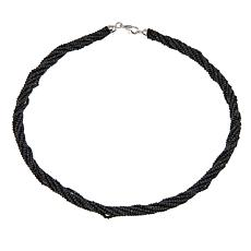 "Colleen Lopez Black Spinel Bead Sterling Silver 18"" Necklace"