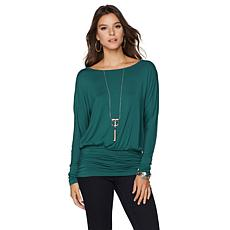 Colleen Lopez Boat-Neck Ruched Top