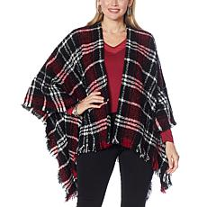 Colleen Lopez Boucle Wrap with Fringe Trim