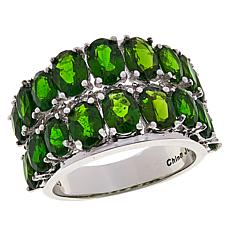 Colleen Lopez Chrome Diopside and White Topaz 2-Row Band Ring