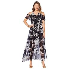 Colleen Lopez Cold Shoulder Printed Maxi Dress