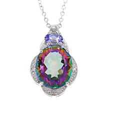 "Colleen Lopez Colored Quartz and Gem Pendant with 18"" Chain"