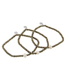 Colleen Lopez Cultured Pearl and Gemstone Bead 3-piece Bracelet Set
