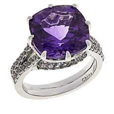 Colleen Lopez Cushion-Cut African Amethyst and White Topaz Ring