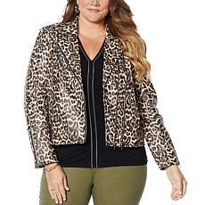 Colleen Lopez Effortlessly Edgy Printed Faux Leather Moto Jacket