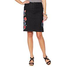Colleen Lopez Embroidered Stretch Denim Skirt
