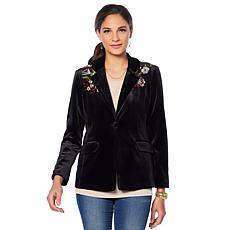 Colleen Lopez Embroidered Velvet Blazer