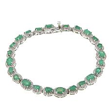 Colleen Lopez Emerald and White Zircon Sterling Silver Line Bracelet