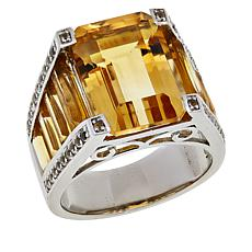 Colleen Lopez Emerald-Cut Citrine and White Topaz Ring