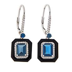 Colleen Lopez Emerald-Cut Gemstone, Onyx and White Zircon Earrings
