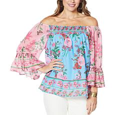 Colleen Lopez Flounce Sleeve Smock-Neck Blouse