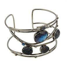 Colleen Lopez Gemstone and Drusy Cuff Bracelet