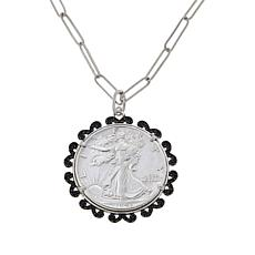 Colleen Lopez Gemstone Walking Liberty Coin Pendant with Chain