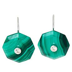 Colleen Lopez Geometric Gemstone and White Zircon Drop Earrings