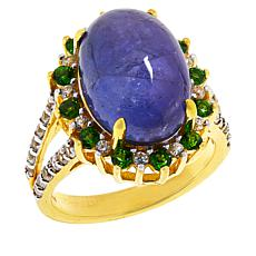 Colleen Lopez Gold-Plated Tanzanite, Chrome Diopside and Zircon Ring