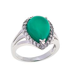 Colleen Lopez Green Chalcedony and White Zircon Ring