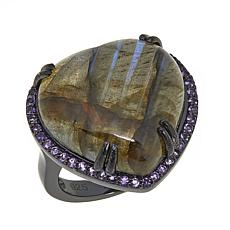 Colleen Lopez Heart-Shaped Labradorite and Amethyst Ring
